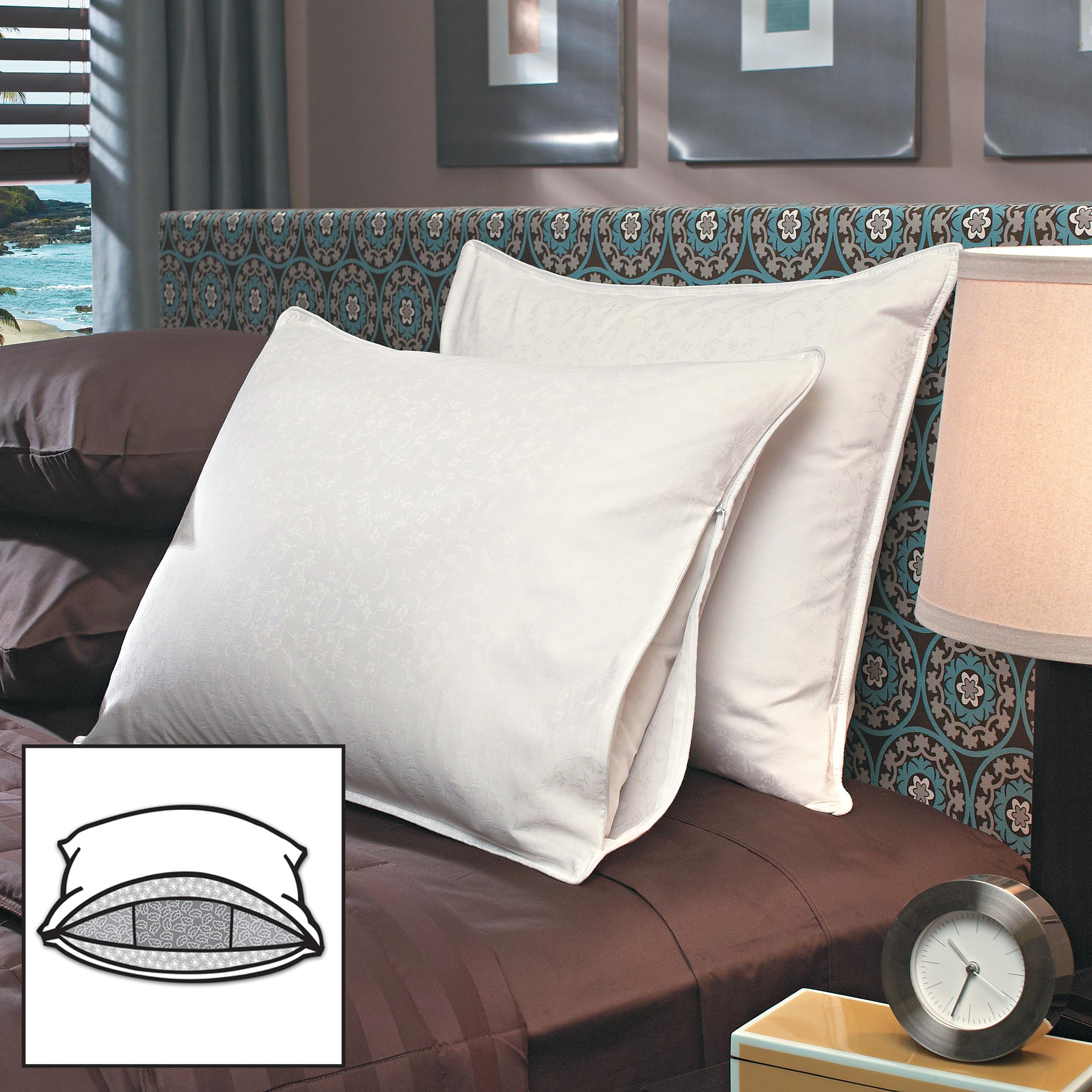 Famous Maker Luxury All-down High Loft Chamber Pillows with Protective Zip Covers (Set of 2)