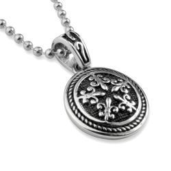 Stainless Steel Fleur De Lis Round Sheild Necklace