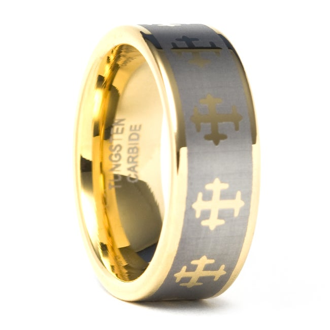 Men's Tungsten Carbide Gold-plated Cross Wedding Band (8 mm)