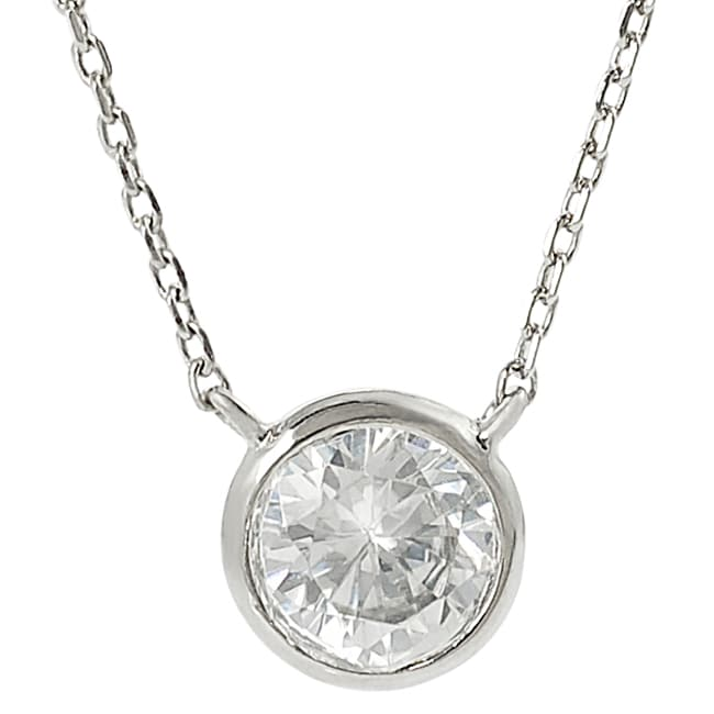 Journee Silvertone Round-cut Cubic Zirconia Necklace