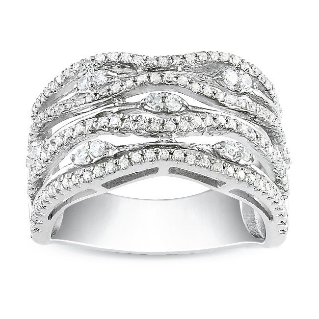 Sterling Silver Round Cubic Zirconia Fancy Band Ring