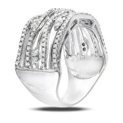 Sterling Silver Round Cubic Zirconia Fancy Band Ring - Thumbnail 1