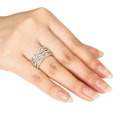 Sterling Silver Round Cubic Zirconia Fancy Band Ring - Thumbnail 2