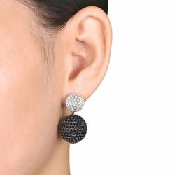 Miadora Sterling Silver Black and White Cubic Zirconia Earrings (20 1/2ct TGW) - Thumbnail 2