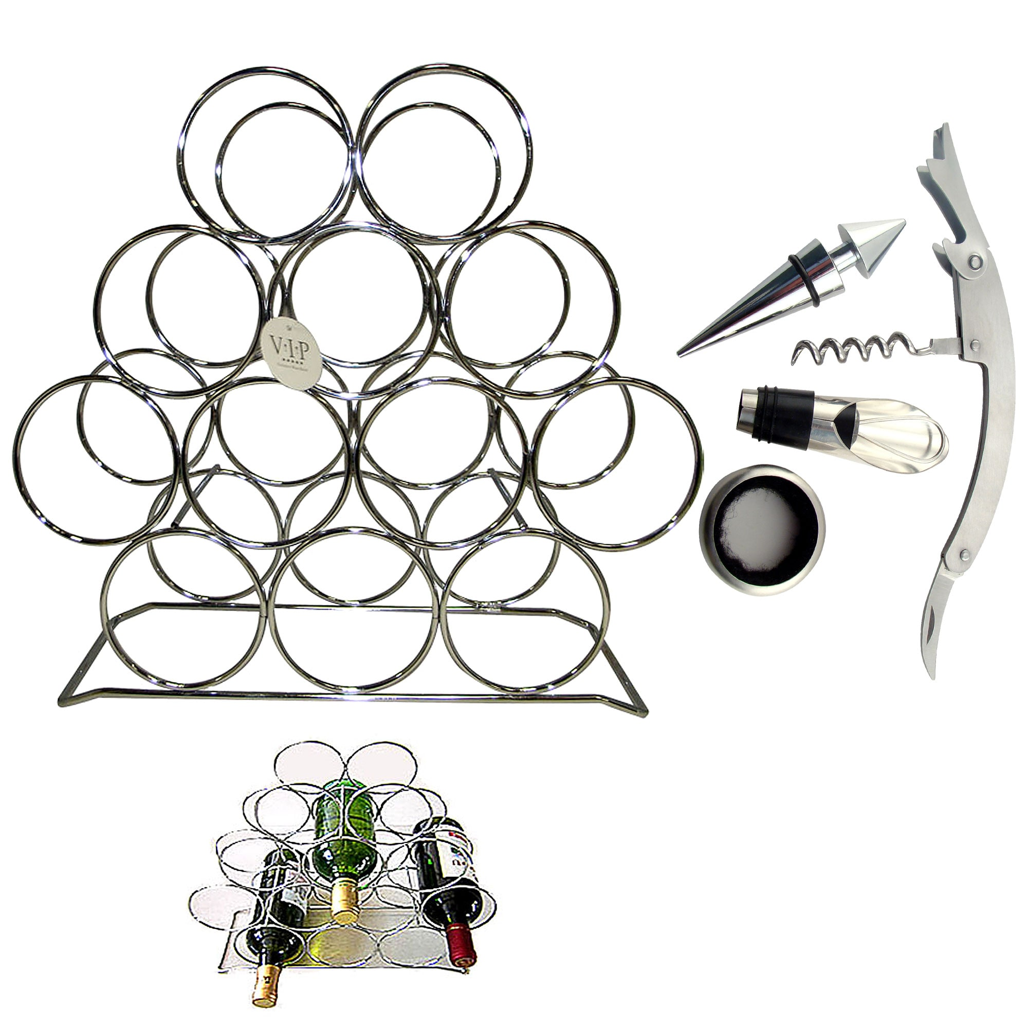 VIP Wine Accessories Metal Rack and Wine Accessories Set
