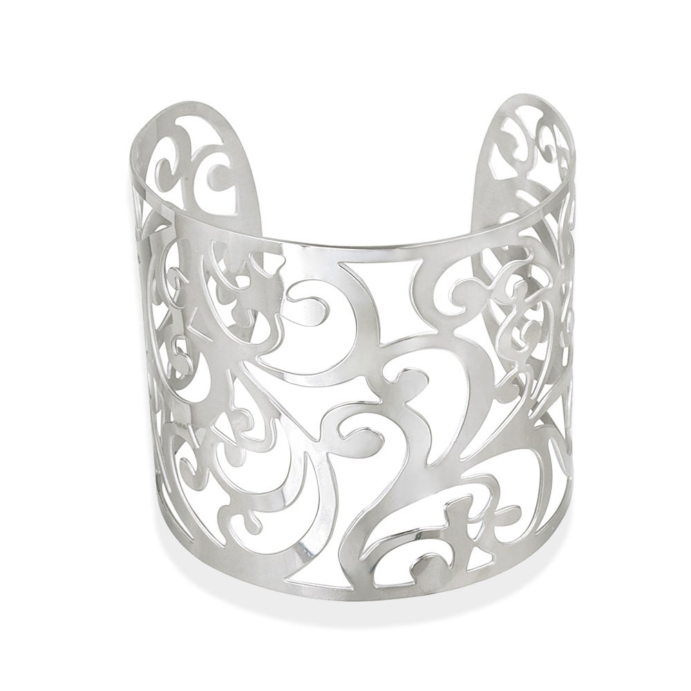Mondevio High-polish Stainless Steel Floral-design Wide Cuff Bracelet
