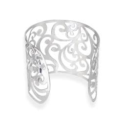Mondevio High-polish Stainless Steel Floral-design Wide Cuff Bracelet - Thumbnail 1