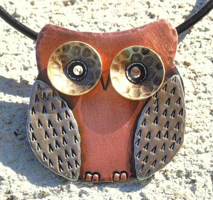 My Three Metals Owl Necklace (North Carolina) - Thumbnail 0