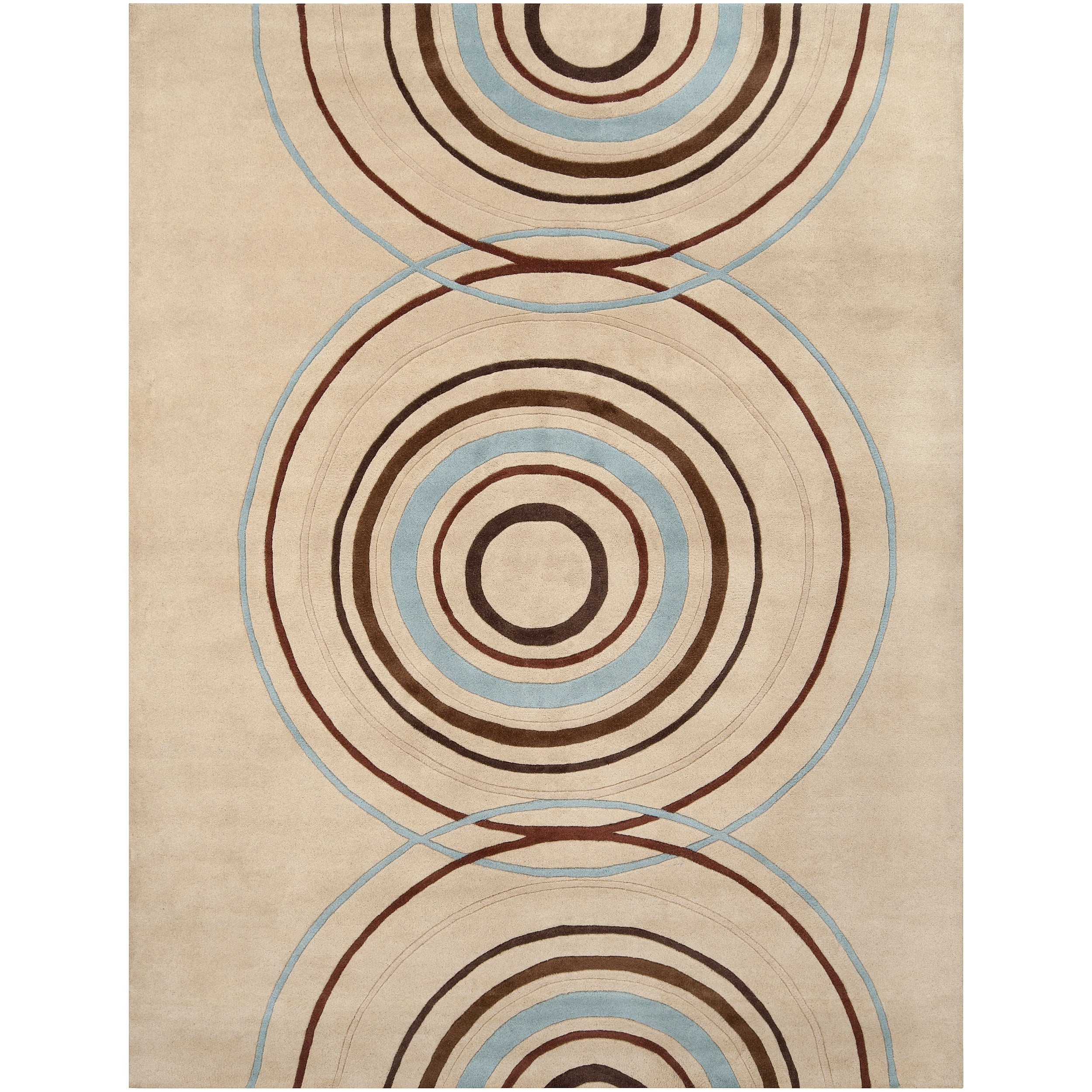 Hand-tufted Beige Contemporary Circles Brierfield Wool Geometric Rug (9' x 12')