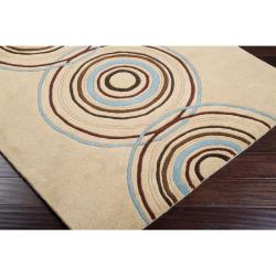 Hand-tufted Beige Contemporary Circles Brierfield Wool Geometric Rug (9' x 12') - Thumbnail 1