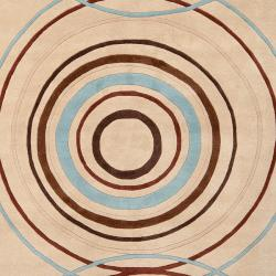 Hand-tufted Beige Contemporary Circles Brierfield Wool Geometric Rug (9' x 12') - Thumbnail 2
