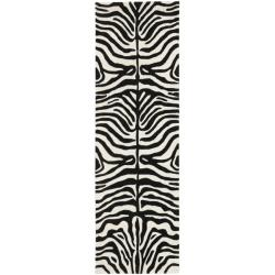 Safavieh Handmade Soho Charcoal/ Beige Zebra Print New Zealand Wool Rug (2'6 x 8')