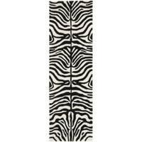 """Safavieh Handmade Soho Charcoal/ Beige Zebra Print New Zealand Wool Rug - 2'6"""" x 8'"""