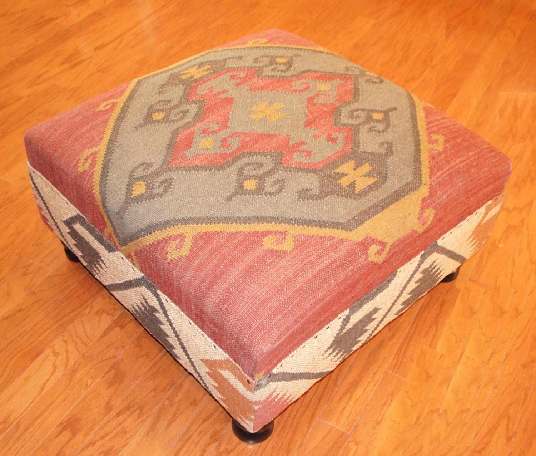 Handmade Kilim Square Ottoman (India)