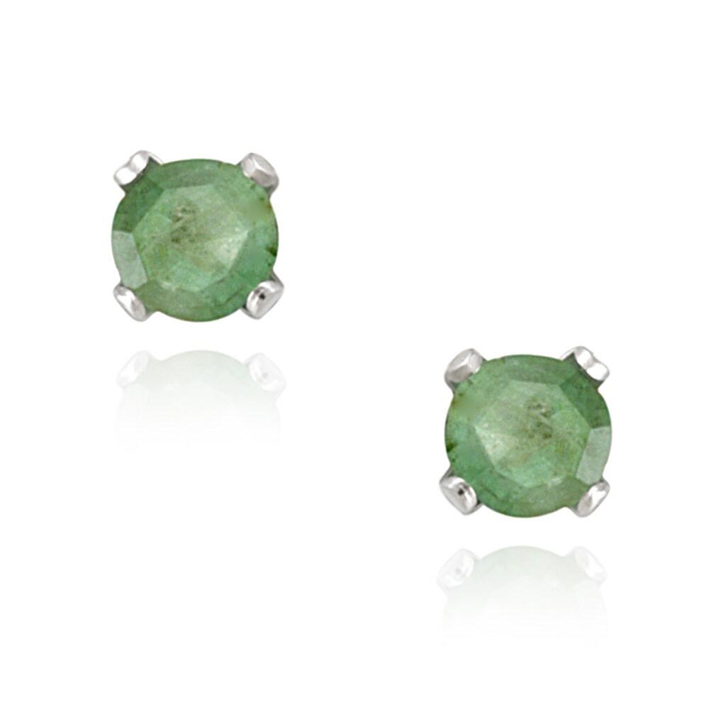 Glitzy Rocks Sterling Silver 3mm Emerald Stud Earrings