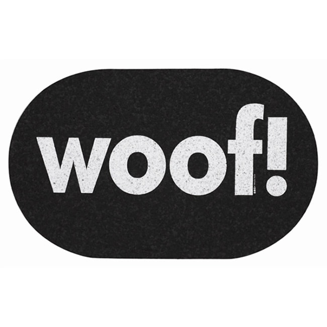 Ore Jumbo 'Woof!' Oval-shaped Black Recycled-rubber Pet Placemat