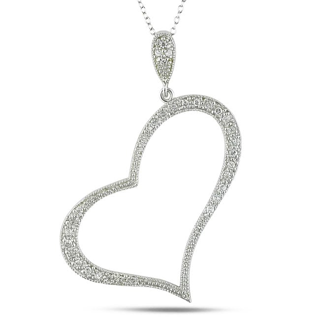 Sterling Silver White Cubic Zirconia Heart Necklace