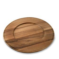 Handmade Set of 4 Beaded Edge Acacia Wood Chargers (China)