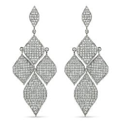 Miadora Sterling Silver White Cubic Zirconia Dangle Earrings