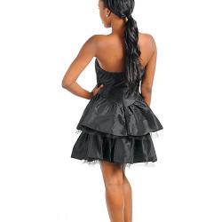 Stanzino Women's Black Rosette Embellished Strapless Dress - Thumbnail 1