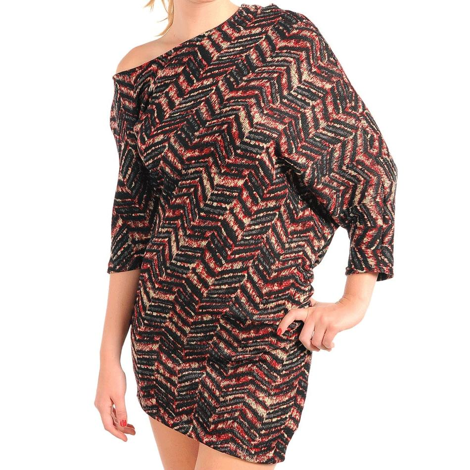 Stanzino Women's Black and Red Off the Shoulder Dress