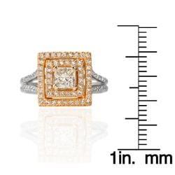 14k Two-tone Gold 7/8ct TDW White Diamond Ring - Thumbnail 2