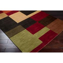 Hand-tufted Contemporary Multi Colored Squares Dartmouth Wool Geometric Rug (9' x 13')