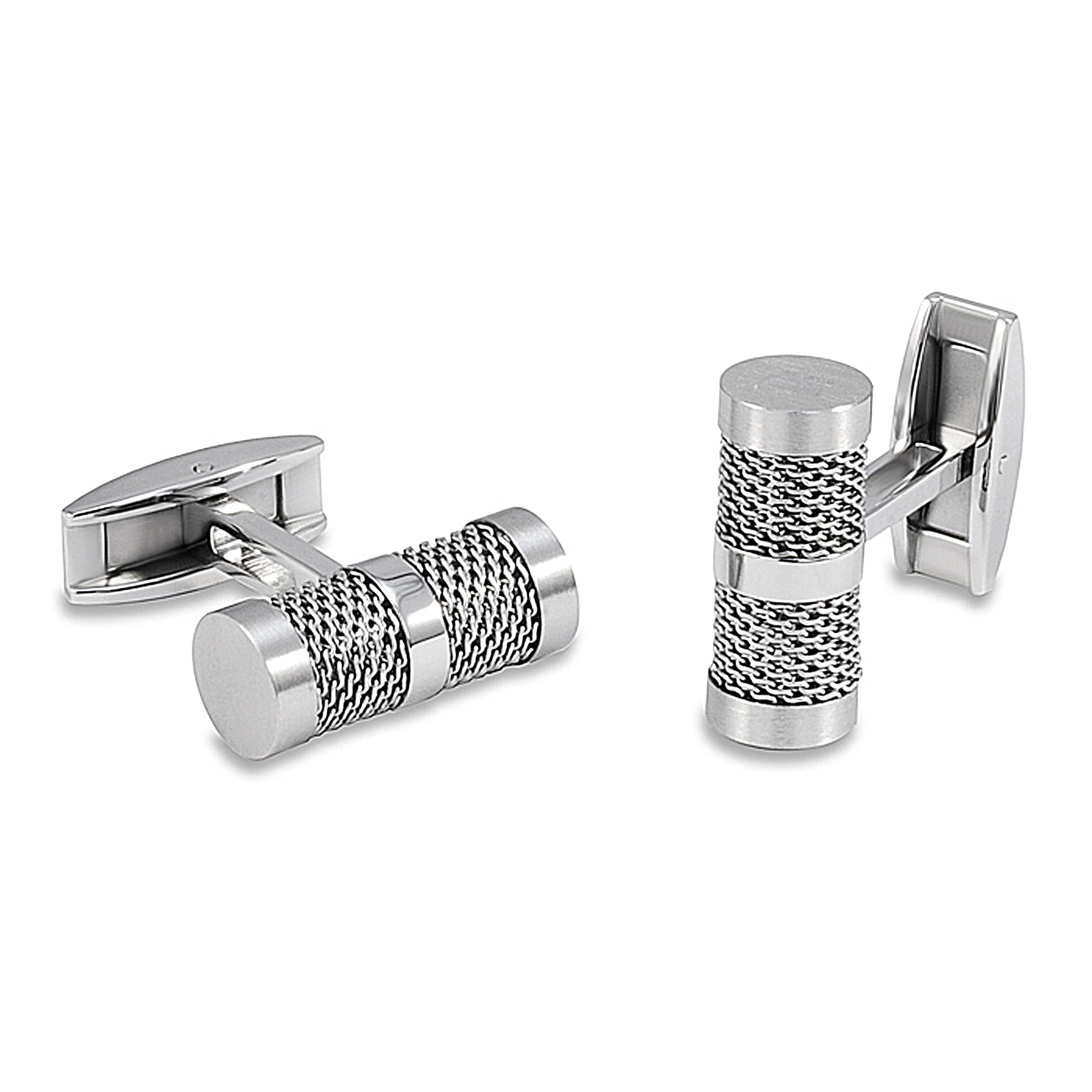 Stainless Steel Barrel Mesh Inlay Cuff Links