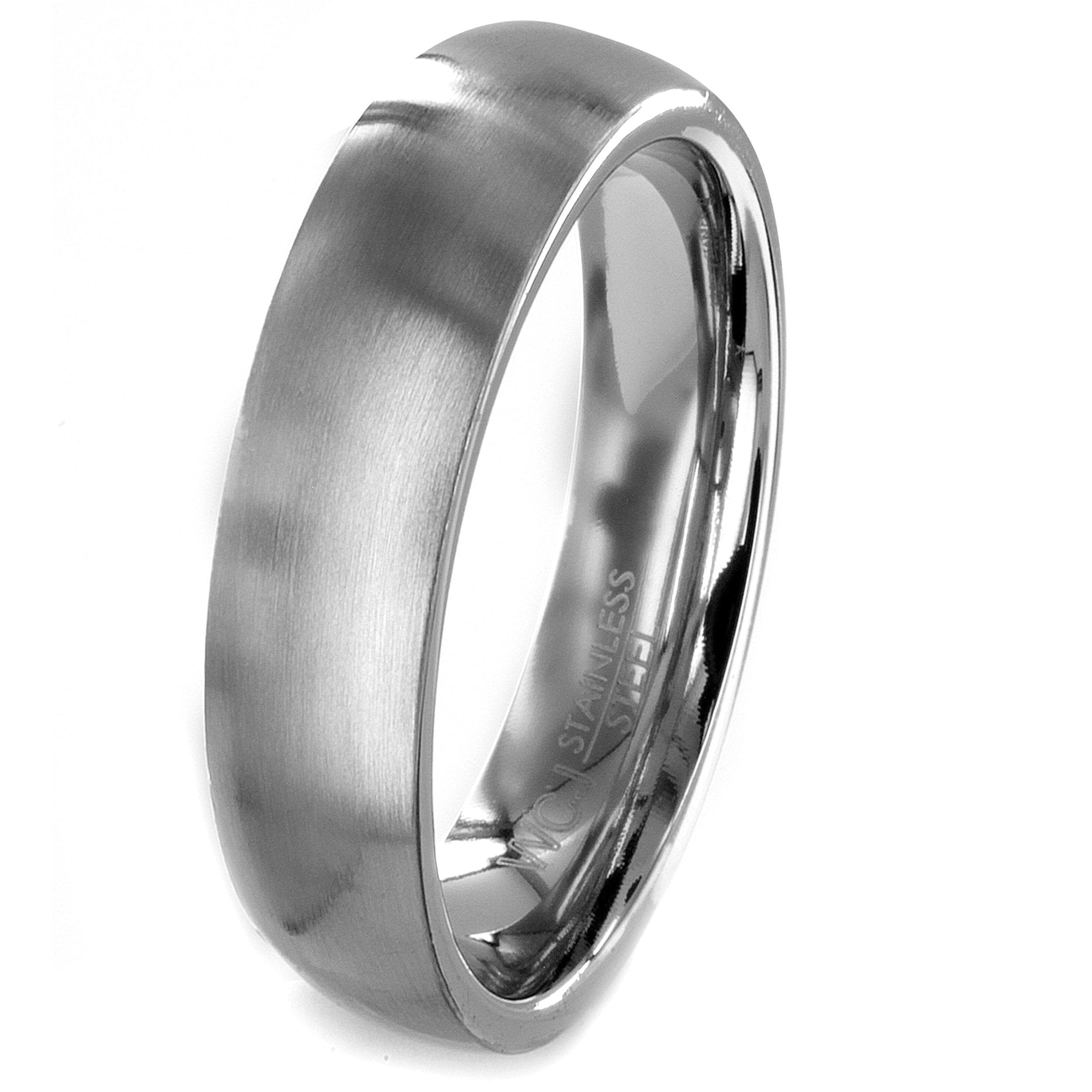 Stainless Steel Brushed Finish Wedding Band - Thumbnail 0