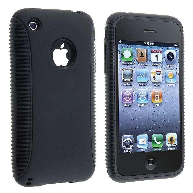 Black TPU/ Black Plastic Hybrid Case for Apple iPhone 3G/ 3GS