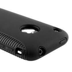 Black TPU/ Black Plastic Hybrid Case for Apple iPhone 3G/ 3GS - Thumbnail 1