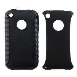 Black TPU/ Black Plastic Hybrid Case for Apple iPhone 3G/ 3GS - Thumbnail 2