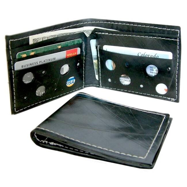 Recycled Men's Black Vintage Rubber Wallet