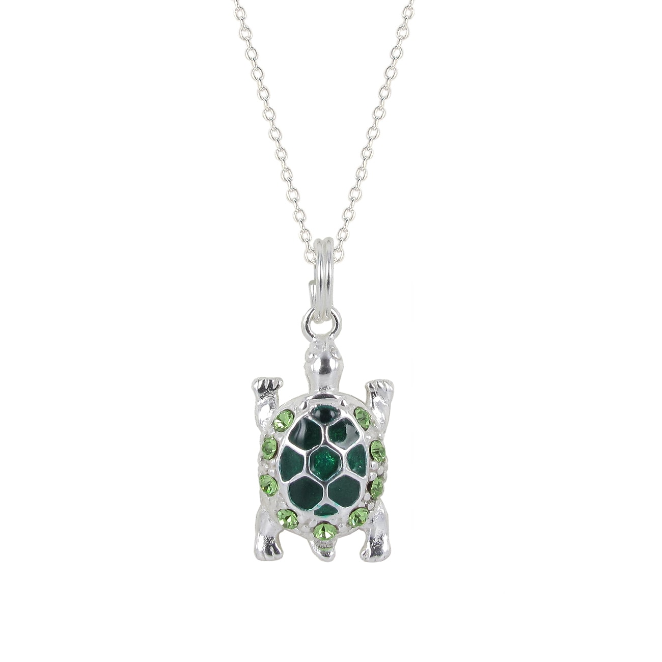 Sunstone Sterling Silver Green Crystal Turtle Pendant Necklace
