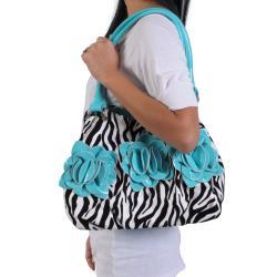 Journee Collection Women's Flower Detail Zebra Print Hobo Bag