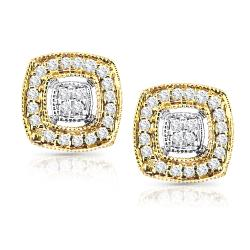 14k Two-Tone Gold 1/5ct TDW Diamond Earrings (H-I, I1-I2)