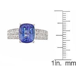 D'Yach 14k White Gold Tanzanite and 3/4ct TDW Diamond Ring (G-H, I1-I2) - Thumbnail 2