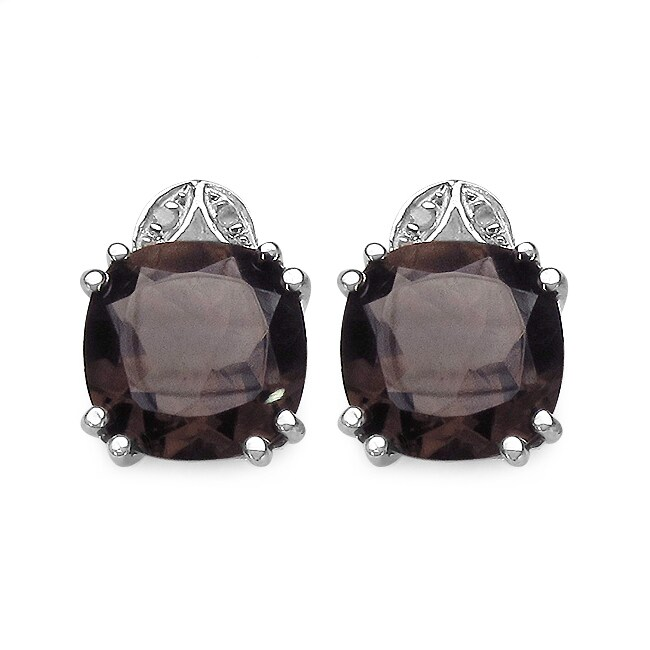 Malaika Sterling Silver Smoky Quartz and 1/10ct TDW Diamond Earrings (J-K, I2-I3)