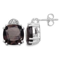 Malaika Sterling Silver Smoky Quartz and 1/10ct TDW Diamond Earrings (J-K, I2-I3) - Thumbnail 1