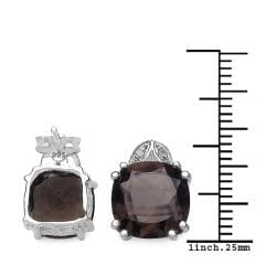 Malaika Sterling Silver Smoky Quartz and 1/10ct TDW Diamond Earrings (J-K, I2-I3) - Thumbnail 2