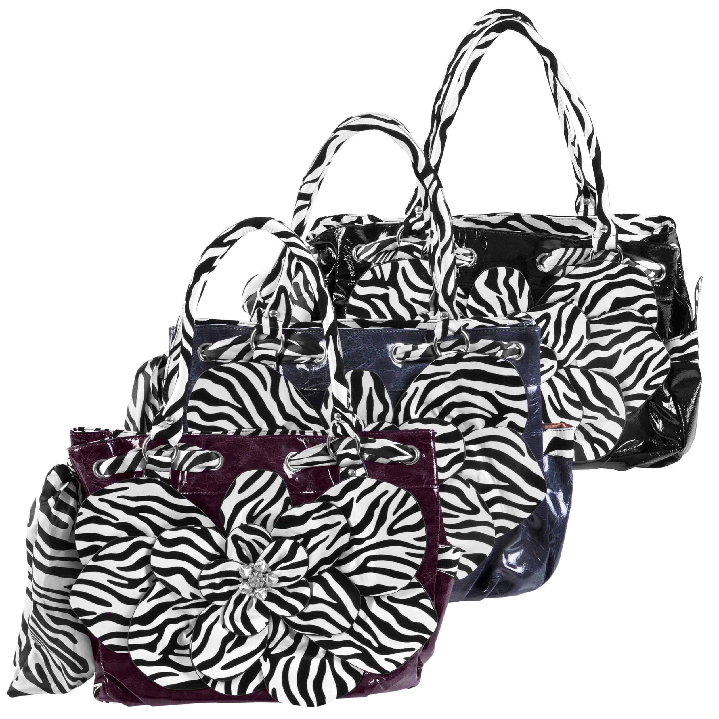 Adi Designs Women's Oversized Flower Detail Zebra Print Handbag
