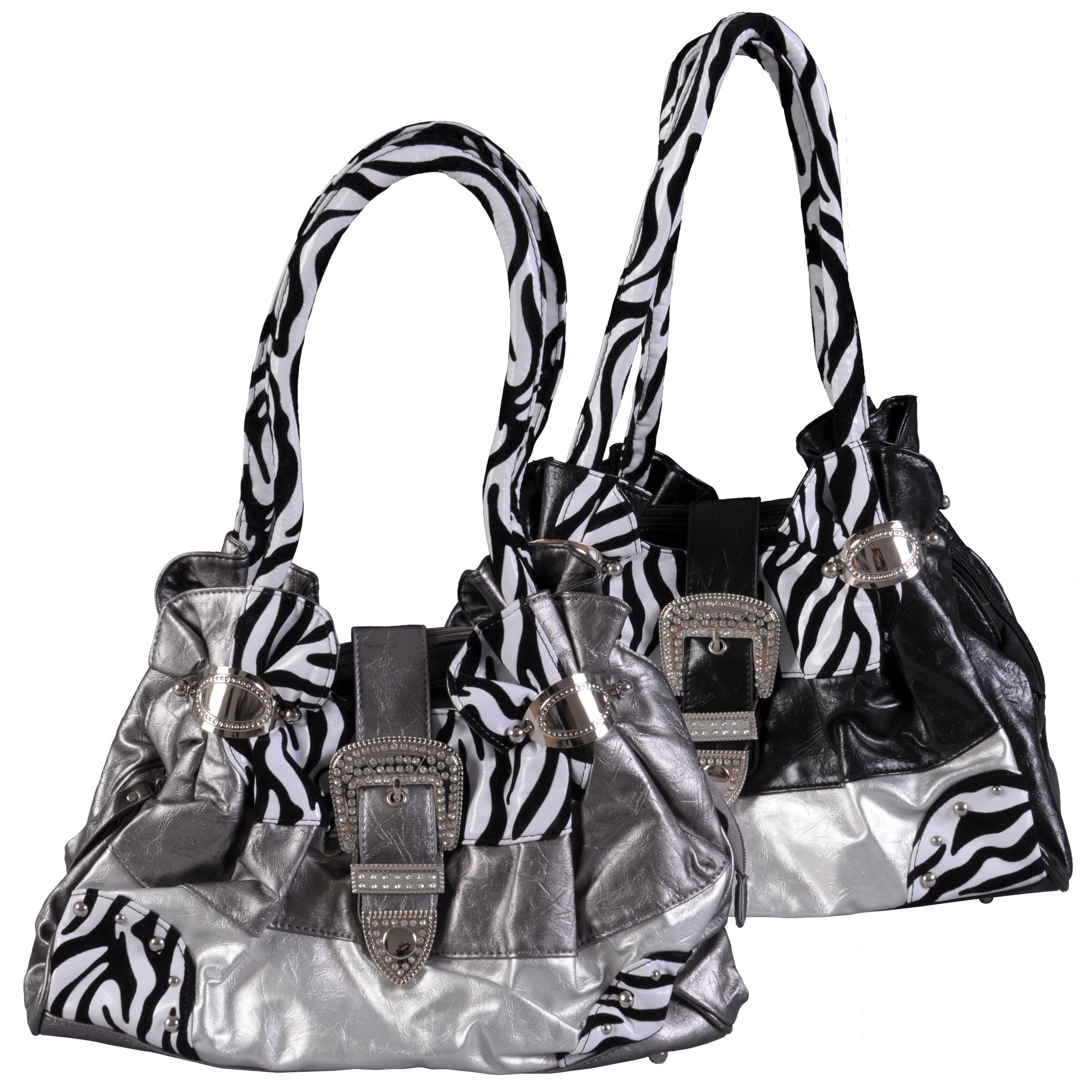 Adi Designs Women's Buckle Detail Double Handel Zebra Print Satchel