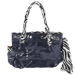 Adi Designs Women's Oversized Flower Detail Zebra Print Handbag - Thumbnail 1