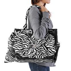 Adi Designs Women's Oversized Flower Detail Zebra Print Handbag - Thumbnail 2