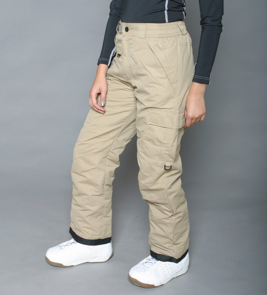 Pulse Women's Khaki Classic Cargo Snow Pants