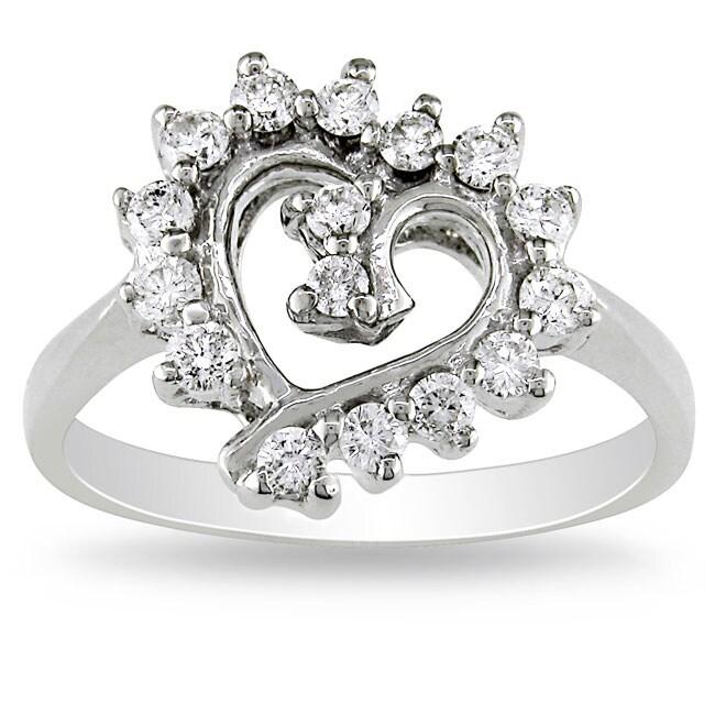 Miadora 14k White Gold 2/5ct TDW Diamond Heart Ring