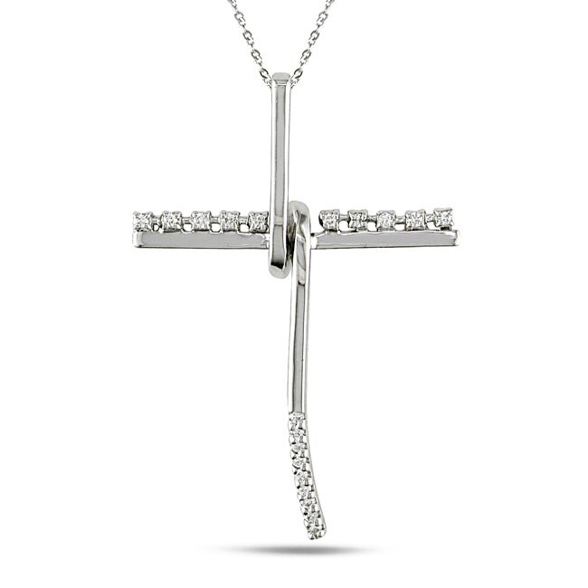 Miadora 14k White Gold 1/5ct TDW Diamond Cross Necklace