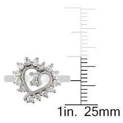 Miadora 14k White Gold 2/5ct TDW Diamond Heart Ring - Thumbnail 2