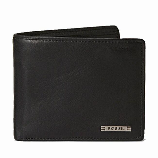 Fossil Men's 'Evans' Black Leather Bi-fold Wallet