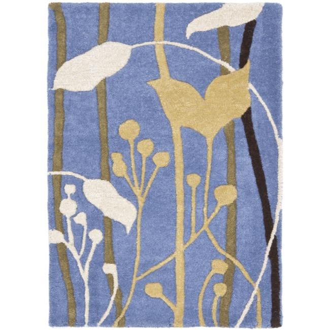 Safavieh Handmade New Zealand Wool Gardens Blue Rug - 2' x 3'